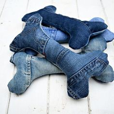 make some cute dog toys out of your old jeans