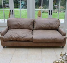 LOAF LEATHER SOFA PAVLOVA BROWN WALNUT BEATEN LEATHER WAS £1995 PRISTINE in Home, Furniture & DIY, Furniture, Sofas, Armchairs & Suites | eBay