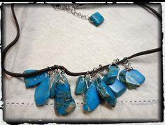 The Cloudburst Gemstone cluster Necklace. Turquoise freeform impression jasper fringe cluster handmade Boho earthy necklace.