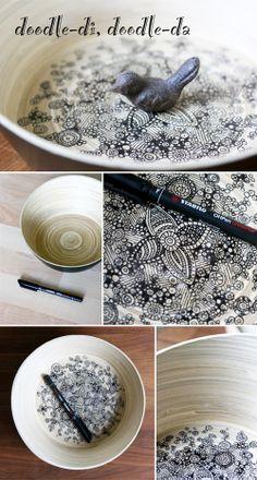 doodle, DIY, IKEA hack, drawing, wood, bowl