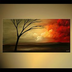"""Abstract Landscape - Contemporary Acrylic Tree Painting by Osnat - MADE-TO-ORDER - 48""""x24"""""""