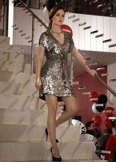 Modern Silver V-neck Sequined Mini Cocktail Dress For Women. See More Gossip Girl Fashion Dresses at http://www.ourgreatshop.com/Gossip-Girl-Fashion-Dresses-C904.aspx