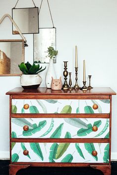 dresser makeover using removable wallpaper from @wallsneedlove