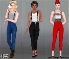 #Sims3 Anubis Under The Sun ♪: Break Down ~ High waisted outfit with suspenders