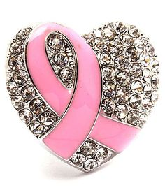 Cancer awareness heart ring