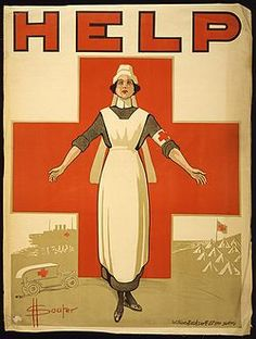 Vintage World War One poster of a Red Cross nurse holding out her arms. The background shows a giant red cross, a ambulance, a hospital ship, and an aid station. It reads, Help. Poster Print x