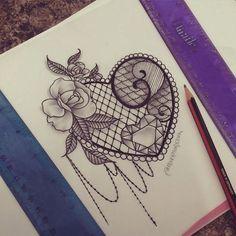 lace tattoo design heart - Google-haku