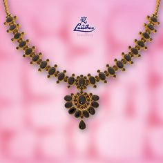 Lalithaa Jewellery empowers Customers through Innovative new Schemes to own Quality Jewellery. Ruby Necklace Designs, Gold Ruby Necklace, Bridal Necklace, Necklace Set, 1 Gram Gold Jewellery, Gold Jewellery Design, Gold Jewelry Simple, Black Gold Jewelry, Antique Jewellery Designs