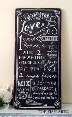 Recipe for Love Happy Marriage CHALKBOARD Typography Word Art Sign on Wood