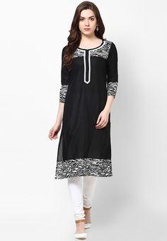 Black Printed Kurta - KIRA Kurtas & kurtis for women   buy women kurtas and kurtis online in indium