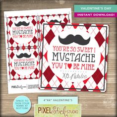 A personal favorite from my Etsy shop https://www.etsy.com/listing/221773013/valentines-printable-mustache-card