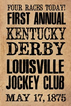 Derby Day decor Kentucky Derby Historical Handbill  12X18 by ZietlowsCustomSigns, $12.00