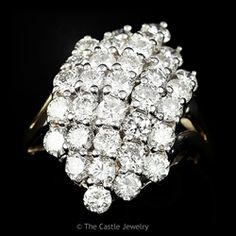 14k Yellow Gold Waterfall 3ctw Diamond Cluster Cocktail Ring in Split Shank Setting
