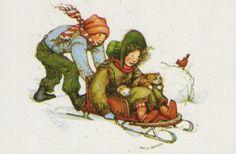 Holly Hobbie, sledding