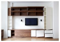 Media and Storage Walls - Think Fabricate Tv Storage Unit, Radiator Cover, White Doors, Panel Doors, Entertainment Center, My House, Furniture Design, The Unit, Entertaining