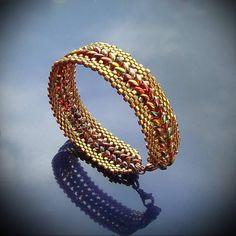 superduo patterns | Bronze Superduo Bracelet.Bracelet with superduo beads and Toho cubes ...