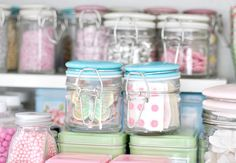 crafty Inside my baking cupboard Baking Storage, Jar Storage, Baking Cupboard, Kitchen Cupboard, Chocolate Nests, Knitting Room, Pastel Kitchen, House Of Turquoise, Home Bakery