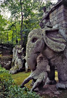 Sculptures at the Park of Monsters in Bomarzo, Viterbo Province, northern Italy
