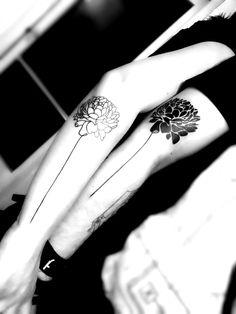 Couple tattoo flowers blackwork linework