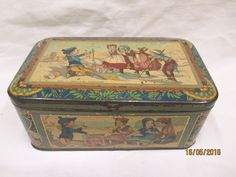 1900 Rare Art Nouveau Children on Beach Mucha style French biscuit tin Bretagne