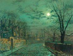 Moonlight scene near Leeds. - John Atkinson Grimshaw paintings
