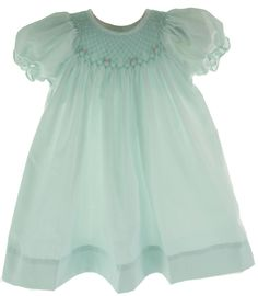 Hiccups Childrens Boutique - Infant Girls Pale Green Smocked Day Dress