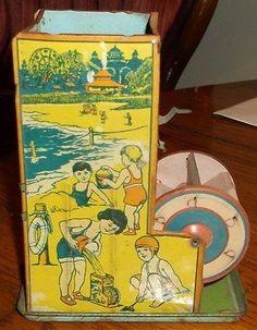 RARE 1930's Vintage J Chein Co Tin Litho Sand Mill Toy 68