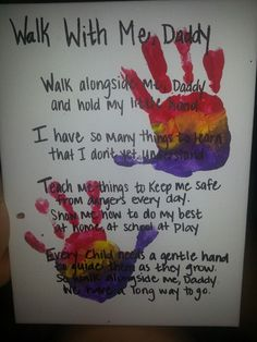 Fathers day: i used a canvas and finger paint. Got the idea and poem from other post on this board. Just did handprints instead of footprints Diy Father's Day Crafts, Father's Day Diy, Baby Crafts, Toddler Crafts, Crafts For Kids, Toddler Activities, Fathers Day Art, Easy Fathers Day Craft, Daddy Gifts