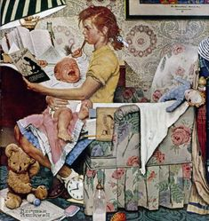 Original Norman Rockwell Paintings | Norman Rockwell's Babysitter With Screaming Infant