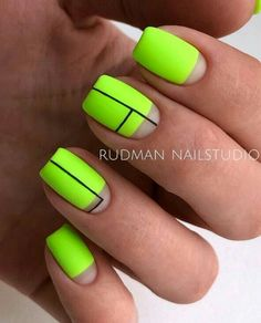 Neon Nail Art With Stripes ❤ Fantastic Matte Acrylic Nails To Give A Thought To ❤ See more ideas on … Neon Nail Art, Neon Nails, Gold Nails, Pink Nails, Neon Nail Designs, Acrylic Nail Designs, Fruit Nail Designs, Cute Nails, Pretty Nails