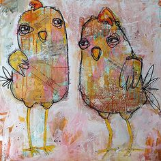Cool Chicks by Jacqui Fehl  mixed media on canvas