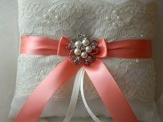 Wedding Ring Bearer Pillow Coral And Ivory Satin And Lace Ringbearer P