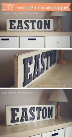 Inexpensive DIY: Wooden Name Plaque. Tutorial on A Sorta Fairytale Blog! Less than $10