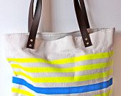Neon and Neutral Canvas Tote Bag with Leather Handle in---tangerine-navy-turquoise-. $74.00, via Etsy.