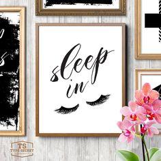 Bedroom wall decor, sleep in, let's sleep in, eyelashes print, fashion print, funny art, eyelashes art, room decor, home decor by TypeSecret on Etsy https://www.etsy.com/listing/266814721/bedroom-wall-decor-sleep-in-lets-sleep