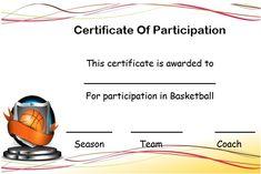 Basketball Certificate Template Free Beautiful Basketball Certificate Of Participation Template Certificate Images, Free Printable Certificate Templates, Certificate Of Participation Template, Training Certificate, Birth Certificate Template, Baby Dedication Certificate, Pamphlet Template, Free Basketball, Sign In Sheet