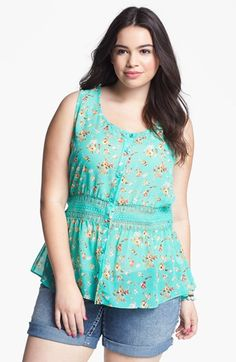 Painted Threads Floral Print Peplum Blouse (Juniors Plus) available at #Nordstrom