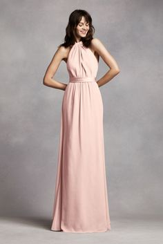 Long Crinkle Chiffon Halter Bridesmaid Dress - Blush (Pink), 16