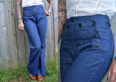 70's Caribou High Waisted Sailor Girl Denim by CoralLaceVintage, $68.00