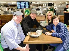 Paul Wahlberg, Donnie Wahlberg, Jenny McCarthy and Elijah Wahlberg enjoy a Wahlbuger at the Canadian launch of Wahlburgers Family Restaurant on November 15, 2014 in Toronto, Canada.