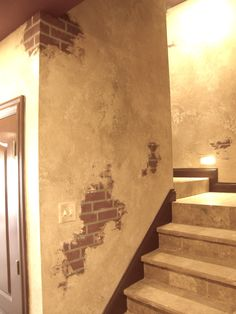 Italian plaster and faux brick.