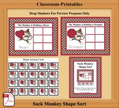 Printable Classroom Activities    Sock Monkey Shape Sorting Mats for daycares and early childhood classrooms.