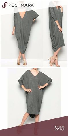 🇺🇸SALE Gray Back Deep Cut Out Maxi Dress Back Deep Cut Out Maxi Dress in gray. Featuring a V neck neckline.   95% Rayon  5% spandex  Fits true to size B Chic Boutique Dresses Maxi