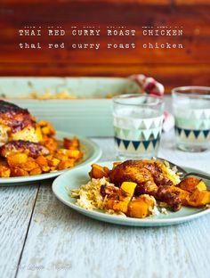 Easiest Thai Red Curry Roast Chicken, Pumpkin & Spiced Rice!