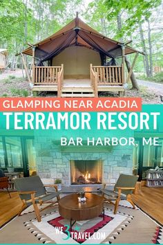 Terramor Outdoor Resort a luxury glamping resort near Bar Harbor and Acadia National Park, making a perfect Maine family vacation destination idea or weekend getaway! Usa Travel, Solo Travel, Acadia National Park, National Parks, Harbor Town, Luxury Glamping, New England Travel, Family Vacation Destinations, Weekend Getaways