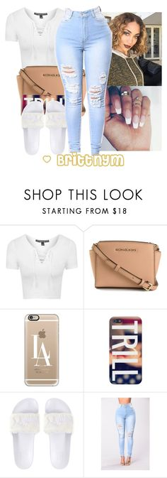 """""""@Brittnym White & Cream"""" by brittnym ❤ liked on Polyvore featuring Topshop, MICHAEL Michael Kors and Casetify"""