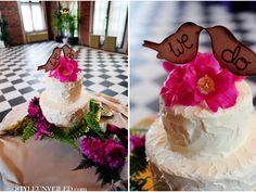 Planning a boho wedding. Love the green around the cake