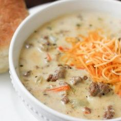 CHEESEBURGER SOUP-cut potatoes and sour cream. Add barley and a can of tomatoes. Delish.