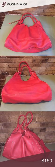 "Cole Haan leather triangle tote in poppy red Cole Haan leather triangle tote in poppy red. Comes with removable clutch. 17"" x 15""  Excellent condition! Cole Haan Bags Totes"