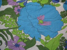 Vintage fabric fat quarter in blue and purple floral